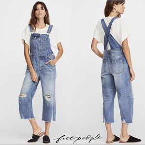 FREE PEOPLE Baggy Cropped Distressed Overalls